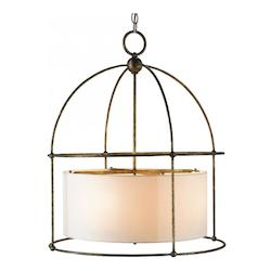 Currey Benson 4 Light Pendant With Wrought Iron Frame Around Ivory Drum Shade
