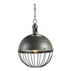 Currey Hiroshi Gray / Off White Verne 1 Light Pendant with Wrought Iron Shade