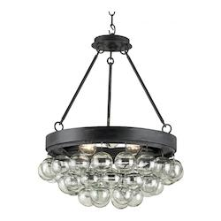 Currey French Black Balthazar 3 Light Pendant with Suspended Clear Glass Globes