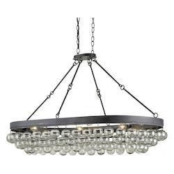 Currey French Black Balthazar 6 Light Large Pendant with Suspended Clear Glass Globes