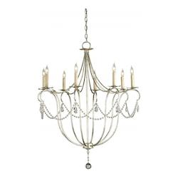 Currey Silver Leaf 8 Light Single Tier Chandelier with Customizable Shades