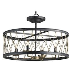 Currey Pyrite Bronze Crisscross Convertible 4 Light Single Tier Chandelier