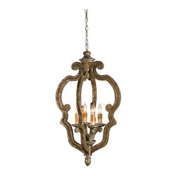 Currey Distressed Silver Leaf Chancellor Chandelier, Small
