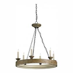 Currey Smokewood Crackle / Natural Beachhouse 6 Light Single Tier Chandelier