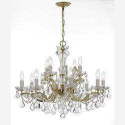 Crystorama Gold / Clear Italian Maria Theresa 12 Light Two Tier Adjustable Chandelier