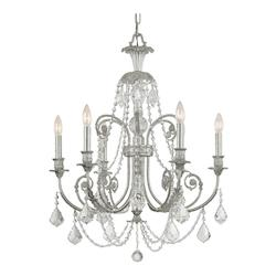 Crystorama Olde Silver / Clear Italian Regis 6 Light Single Tier Adjustable Chandelier