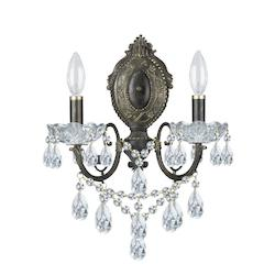 Crystorama English Bronze / Clear Italian Legacy 2 Light Wall Sconce - 12 Inches Wide