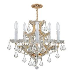 Crystorama Gold / Clear Italian Maria Theresa 6 Light Single Tier Adjustable Chandelier
