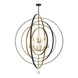 Crystorama Crystorama Luna 12 Light Bronze & Gold Chandelier