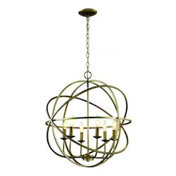 Trans Globe 6Lt Chandelier-Multi Ring Orb-