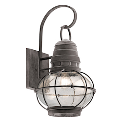 Kichler Weathered Zinc Bridge Point 1 Light Outdoor Wall Sconce