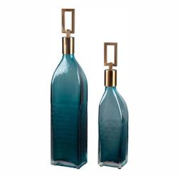 Uttermost Annabella Teal Glass Bottles, S/2