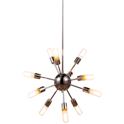 Urban Classic 1134 Cork Collection Pendant Lamp D:21In H:63.5In Lt:12 Polished Nickel Finish