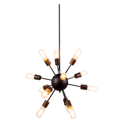 Urban Classic 1134 Cork Collection Pendant Lamp D:21In H:63.5In Lt:12 Vintage Steel Finish