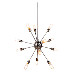 Urban Classic 1134 Cork Collection Pendant Lamp D:30In H:67.5In Lt:12 Polished Nickel Finish