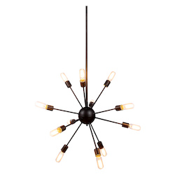 Urban Classic 1134 Cork Collection Pendant Lamp D:30In H:67.5In Lt:12 Vintage Steel Finish