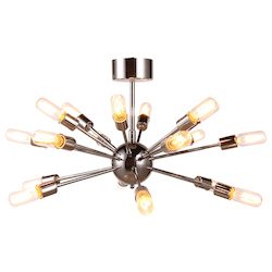 Urban Classic 1135 Cork Collection Pendant Lamp D:30In H:15.5In Lt:18 Polished Nickel Finish