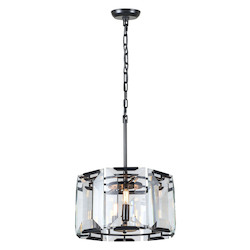 Urban Classic 1211 Monaco Collection Pendant Lamp D:17In H:12In Lt:4 Flat Black (Matte) Finish