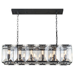 Urban Classic 1212 Monaco Collection Pendant Lamp L:40In W:13In H:12In Lt:12 Flat Black (Matte