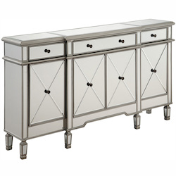 Elegant Decor Silver / Clear 60in. Wide 4 Door Chest from the Danville Collection