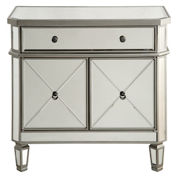 Elegant Decor Silver / Clear 32in. Wide 2 Door Chest from the Danville Collection