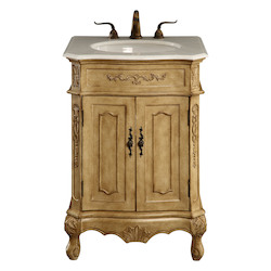 Elegant Decor Vanity Cabinet 2 Door 24In.X21In.X35In. Antique Beige