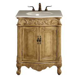 Elegant Decor Vanity Cabinet 2 Door 27In.X21In.X35In. Antique Beige