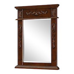 Elegant Decor Brown Danville 28in. x 22in. Rectangular Beveled Wood Frame/Design Mirror