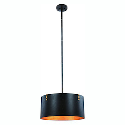 Urban Classic Hudson Collection Pendant Lamp D:20In. H:57In. Lt:3 Vintage Bronze&Golden Ir