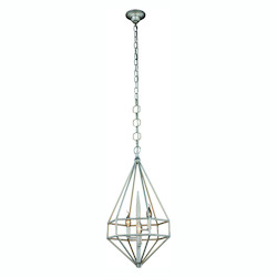 Urban Classic Marquis Collection Pendant Lamp D:14In. H:26In. Lt:3 Vintage Silver Leaf Fin