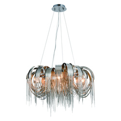Urban Classic Blythe Collection Pendant Lamp D:25.5In. H:12In. Lt:5 Chrome Finish