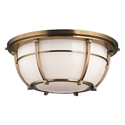 Hudson Valley Aged Brass Conrad 3 Light Flush Mount Ceiling Fixture With Opal Glass Shade