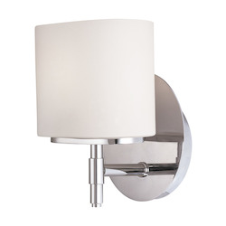 Hudson Valley Polished Chrome Trinity 1 Light Wall Sconce With Opal Glass Shade