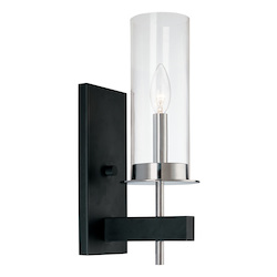 Sonneman Wall Light Polished Chrome And Black