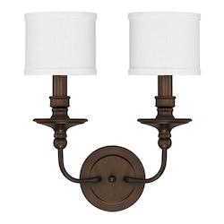 Capital Burnished Bronze Midtown 2 Light 17in. Tall Wall Sconce with White Fabric Shade