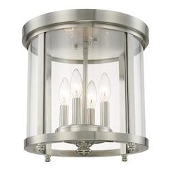 Capital Brushed Nickel Capital Ceilings 4 Light Flush Mount Ceiling Fixture
