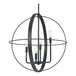 Capital Black Iron Pendants 4 Light 1 Tier Chandelier