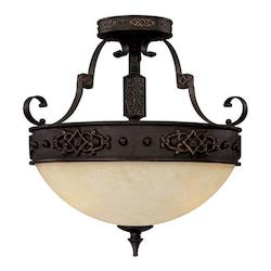 Capital Rustic Iron River Crest 3 Light Semi-Flush Ceiling Fixture