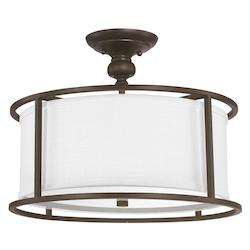 Capital Burnished Bronze Midtown 3 Light 17in. Wide Semi-Flush Ceiling Fixture
