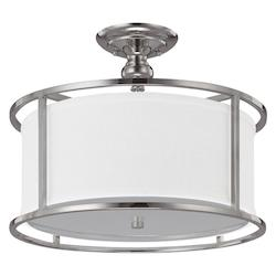 Capital Three Light Polished Nickel Drum Shade Semi-Flush Mount