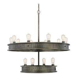 Capital Gunmetal Nash 14 Light 2 Tier Chandelier
