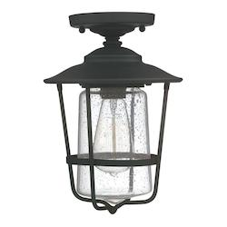 Capital Black Creekside Single Light 12in. Tall Outdoor Semi-Flush Ceiling Fixture