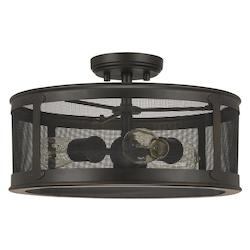 Capital Old Bronze The Dylan Collection 3 Light Outdoor Semi-Flush Ceiling Fixture