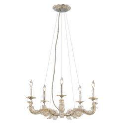 Corbett Silver Leaf Cielo 5 Light Hand Crafted 29in. Wide Chandelier