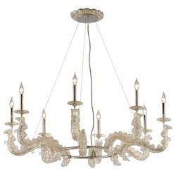 Corbett Silver Leaf Cielo 8 Light Hand Crafted 45.5in. Wide Chandelier