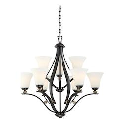 Minka-Lavery 9 Light Chandelier In Castle Bronze With Aged Silver And Etched White Glass