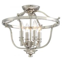 Minka-Lavery 4 Light Semi Flush Mount In Polished Nickel W/Clear Glass