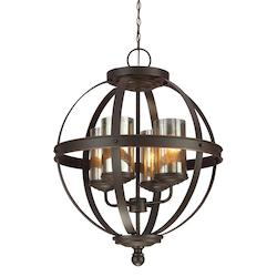 Sea Gull Sfera Four Light Chandelier In Autumn Bronze With Mercury Glass
