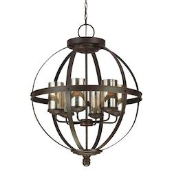 Sea Gull Sfera Six Light Chandelier In Autumn Bronze With Mercury Glass