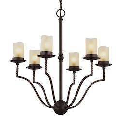 Sea Gull Trempealeau Six Light Chandelier In Roman Bronze With Champagne Seeded Glass